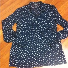 Navy Blue and White Polka Dot Shirt sz XS Adorable polka dot shirt with buttoned pleated front and ties in the front for better fit; navy blue and white; sz XS or 0/2 Tops
