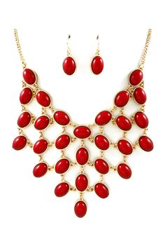 Cranberry Ladika Necklace & Earrings.