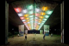 publicdesignfestival:  Flashback: 2008 Warsaw (Poland). Light installation under the underpass dividing Agrykola Park and Park na Skarpie by...