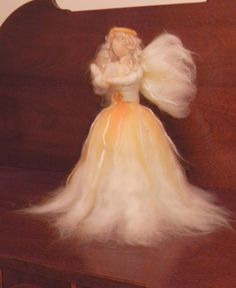 Angel Christmas Tree Topper with dove - Extra Large - Needle Felted Waldorf Style - Made to Order - Item 1-4002