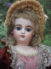 ~~~ Beautiful Large French Bisque Poupee with Original Costume ~~~
