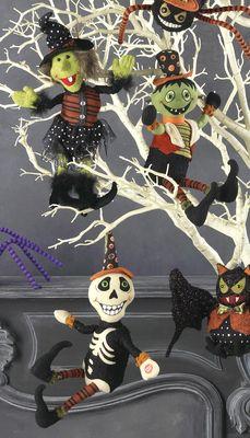 raz animated hanging skeleton witch frankenstein halloween decoration head spins legs kick to spooky - Raz Halloween Decorations