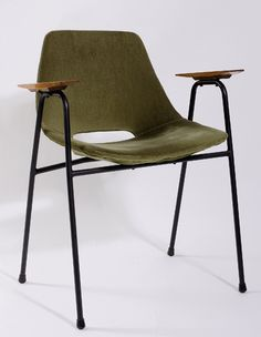 Pierre Guariche; Painted Metal and Wood 'Tonneau' Armchair for Steiner, 1954.
