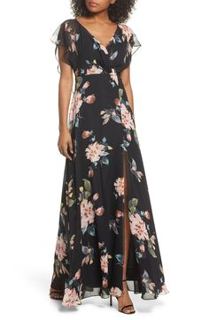 Main Image - Jenny Yoo Alanna Ohana Print Open Back Print Chiffon Gown Affordable Prom Dresses, Trendy Dresses, Formal Dresses, Chiffon Gown, Print Chiffon, Dresses For Apple Shape, Bridesmaid Dresses 2018, Mother Of Groom Dresses, Festival Outfits