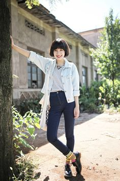 Yes, Asian Street Fashion | Love the denim - sock detail