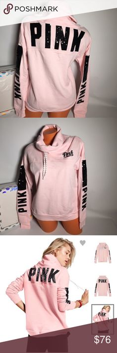 Victoria's Secret pink bling pullover Sz XS Comes in original vs package Absolutely stunning!! Victoria's Secret pink bling cowl pullover in light pink !  Victoria's Secret Pink Cowl Neck Pullover - Slim fit - Pullover sweater - Drawstring cowl neck - Super soft fleece - Black sequin bling graphics across the upper back, on both sleeves and on chest area -60% Cotton / 40% Polyester Price is firm PINK Victoria's Secret Tops Sweatshirts & Hoodies