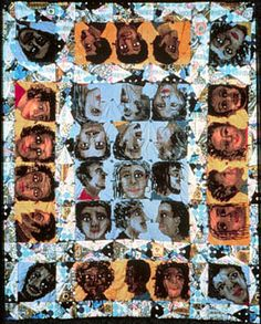 """Echoes of Harlem"" Faith Rinngold  Quilt as portraits- textile as portraits and using quilts and traditional craft work to create something that would usually be reserved for fine art. Mixing mediums."