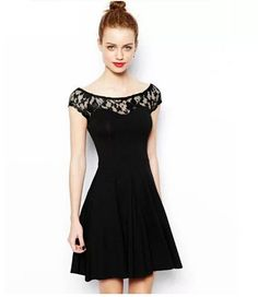 Fashion Black Round Neck Lace Splicing Hollow Out Tall Waist Dress Women Pleated Dress http://www.eozy.com/fashion-black-round-neck-lace-splicing-hollow-out-tall-waist-dress-women-pleated-dress.html