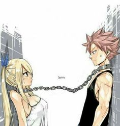 Natsu and lucy chained together