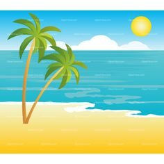 Beach clipart tropical landscape royalty free vector design