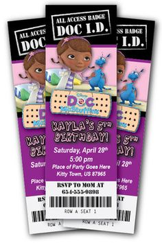 Doc McStuffins Invitation Zebra Print Disney Ticket Invite 1st Birthday Party | eBay
