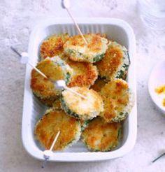 Courgettes panées, sauce yaourt au curry