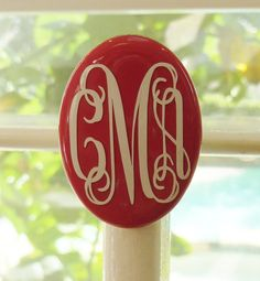 Monogrammed Enamel Ring with Stretch Fit by ArentYouCute on Etsy, $18.00