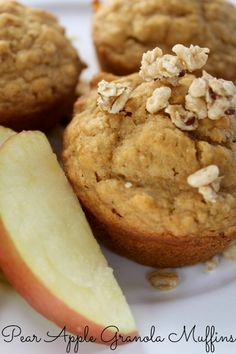 Pear Apple Granola Muffins are a healthy breakfast treat!  by www.nodietsallowed.com on www.whatscookingwithruthie.com #recipes #breakfast