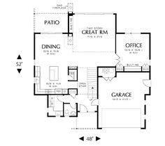 Houseplans.com Modern Main Floor Plan Plan #48 495 Modern House Plans,