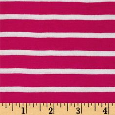 """Rayon Spandex 1/2 X 1/4 Yarn Dyed Stripes Jersey Knit Fuchsia/Ivory from @fabricdotcom  This lightweight rayon blend jersey knit  features a smooth hand and 1/4"""" and 1/2"""" stripes that run perpendicular to the selvedge. Fabric features 4-way stretch (15% across the grain and 40% on the vertical) for comfort and ease. Perfect for gathered or lined knit skirts and dresses, t-shirts, dolmans, and even loungewear."""