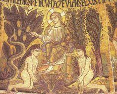 Mosaico de San Marcos de Venecia. En el arte paleocristiano el árbol está representadoi a menudo en escenas que aluden al paraíso, en forma de palma estilizada