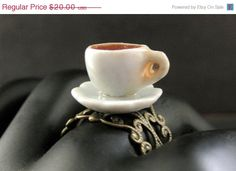 HOLIDAY SALE Coffee Cup Ring. Diner by StumblingOnSainthood