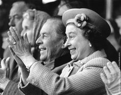 The Queen cheering Prince Philip on at the Royal Windsor Horse Show