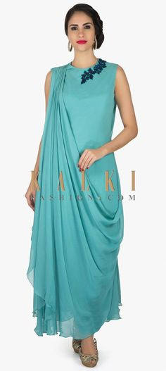 Turq blue suit in georgette with fancy drape and embroidered zari butti only on Kalki Drape Gowns, Draped Dress, Kurta Designs, Blouse Designs, Indian Dresses, Indian Outfits, Heavy Dresses, Indian Designer Wear, Indian Wear