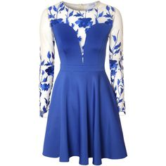 True Decadence Floral Mesh Plunge Skater Dress ($63) ❤ liked on Polyvore featuring dresses, blue, sale, floral print prom dresses, long sleeve floral dress, blue prom dresses, floral dress and blue dress