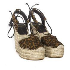 Saint Laurent Paris Leopard Suede Wedges (12.300 RUB) ❤ liked on Polyvore featuring shoes, sandals, brown, leopard sandals, brown wedge shoes, leopard print sandals, leopard print wedge sandals and wedge heel sandals