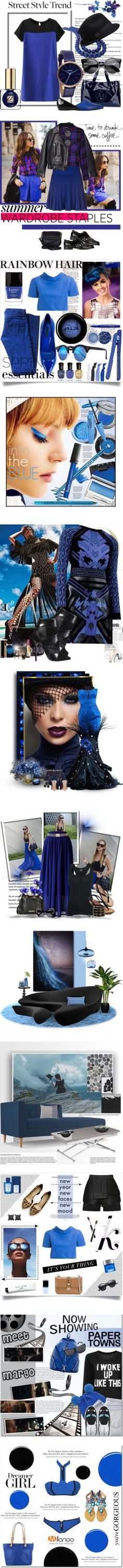 """""""Blue and Black Color Trend"""" by yours-styling-best-friend ❤ liked on Polyvore"""