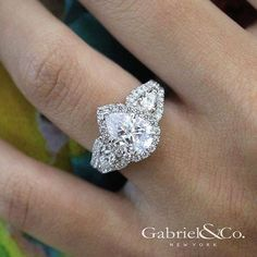 White Gold Pear Shape Three Stone Halo Diamond Engagement Ring - Gabriel NY – Voted Most Preferred Fine Jewelry and Bridal Brand. Engagement Ring Shapes, Princess Cut Engagement Rings, Diamond Engagement Rings, Diamond Rings, Princess Wedding, Oval Engagement, Solitaire Diamond, Vintage Princess, Pear Shaped Engagement Rings