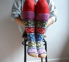 Knee Hight Hand Knit Wool Socks Leg Warmers Women by fizzaccessory, $39.00