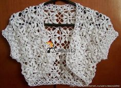 Diy Crafts - I saw this really pretty black bolero and If I'm not busy with other projects I would really make myself one. Crochet Bolero Pattern, Crochet Cardigan Pattern, Crochet Blouse, Crochet Patterns, Patron Crochet, Crochet Buttons, Chunky Crochet, Crochet Fashion, Crochet Clothes