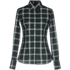 M.grifoni Denim Shirt (435 BRL) ❤ liked on Polyvore featuring tops, green, green shirt, tartan plaid shirt, extra-long-sleeve shirts, green long sleeve shirt and cotton plaid shirt