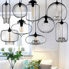 NEW Modern Retro Glass Pendant Lamps Kitchen Bar Cafe Hanging Ceiling Lights in … - All For Decoration Glass Pendant Lamp, Glass Pendant Lighting Kitchen, Modern Glass Pendant Light, Glass Lighting, Hanging Ceiling Lights, Modern Glass, Pendant Lamps Kitchen, Ceiling Lights, Modern Lamp Shades