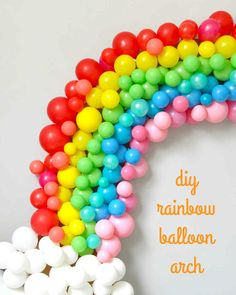 Rainbow Balloon Arch Here's how to make a show stopping rainbow of balloons! At your next celebration, this decoration doubles as a colorful backdrop for photos. Rainbow Birthday Party, Rainbow Theme, Unicorn Birthday Parties, Unicorn Party, Birthday Party Themes, Rainbow Baby, Birthday Celebration, Rainbow Balloon Arch, Balloon Backdrop