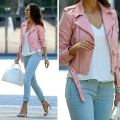 Baby Pink Biker Jacket BABAY PINK BIKER JACKET, WHITE TOP - ZARA, GIRLFRIEND JEANS - GAP, / SILVER SANDALS - ZARA, WHITE BAG - BERSHKA Fashion Look by Style And Blog