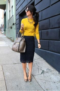 This is a good example of a winter business casual outfit that incoorporates color and a lace pencil skirt. This is a good example of a winter business casual outfit that incoorporates color and a lace pencil skirt. Black Lace Skirt, Navy Lace, Blue Lace, Navy Gold, Gold Lace, Eyelet Skirt, Black Skirts, Gray Skirt, Dark Navy