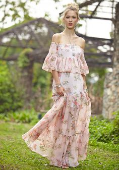 This floral off shoulder maxi dress is a sweet piece perfect for spring. It features an off shoulder neckline, a pair of flared sleeves and a falbala hem, adding charm to this dress. | Lookbook Store