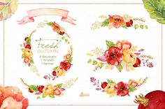 Fresh Autumn. Watercolor clipart by OctopusArtis on @creativemarket