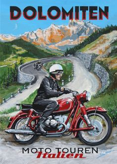Dolomiten Poster, Motorcycle scene in the Italian Alps, BMW R69S, by © Dennis Simon