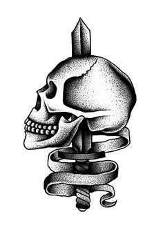 Skull w/ sword template