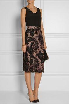 3da900b6300 Oscar de la Renta - Embellished embroidered lace and cotton-blend pencil  skirt