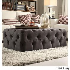 Tufted Ottoman Cocktail Table Upholstered Dark Gray Linen Casters Rectangular…