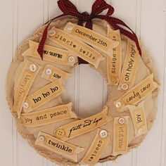 fabric covered wreath with tags and buttons