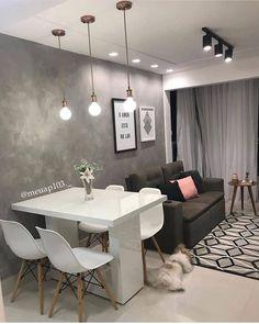 Small Apartment Interior, Condo Interior, Small Apartment Living, Home Interior Design, Small Living Rooms, Small Living Dining, Cute Apartment Decor, Narrow Rooms, Small Apartment Design