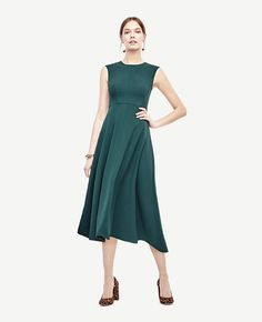 Crepe Seamed Midi Dress | Ann Taylor
