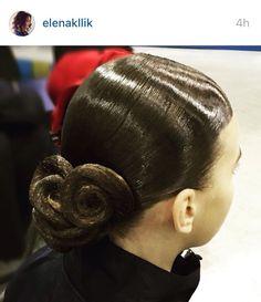 Simple low swirl bun hairstyle