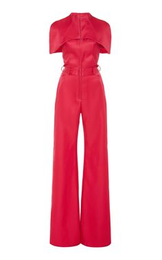 Shop Cape-Effect Silk And Wool-Blend Wide-Leg Jumpsuit . An ensemble for the modern-day superheroine, Brandon Maxwell's jumpsuit is built in a wide-leg silhouette with a cape-effect top. Satin Jumpsuit, Jumpsuit With Sleeves, Ashley Clothes, Brandon Maxwell, Mode Hijab, Jumpsuits For Women, Pretty Outfits, Street Fashion, Fashion Forward