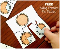 Adding fractions can be confusing for some students. Help them by modeling addition of fractions with these free pie puzzles. Addition Of Fractions, Adding Fractions, Math Fractions, Equivalent Fractions, Dividing Fractions, Math Math, Maths Puzzles, Math Fraction Games, Division Math Games