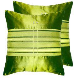 Green Thai Silk Throw Pillows  (Shiny Color Smooth Surface Couch Cushions, Home Decor)