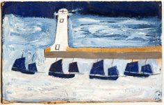 Alfred Wallis, Four Luggers and a Lighthouse, c 1928