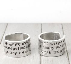 Best Friends Rings Hand Stamped Rings by PureImpressions on Etsy, $28.00